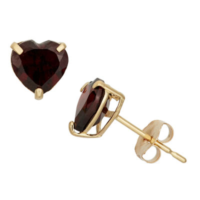 Heart Red Garnet 10K Gold Stud Earrings