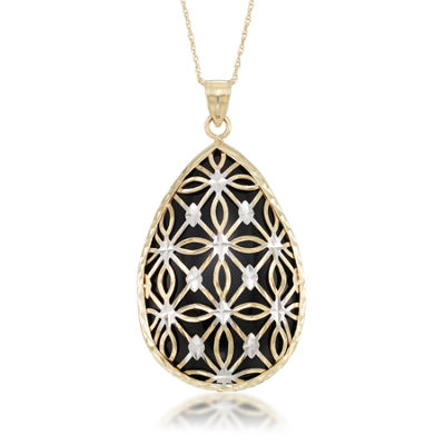Womens Black Onyx 10K Gold Pear Pendant Necklace