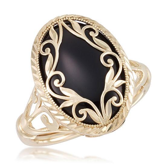 Womens Genuine Black Onyx 10K Gold Cocktail Ring