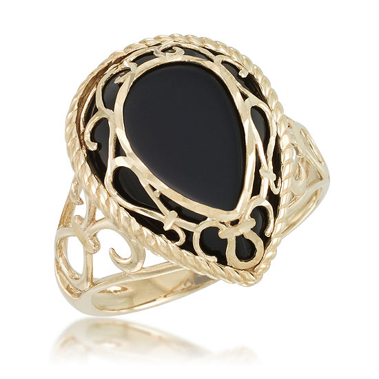 Womens Genuine Black Onyx 10K Gold Cocktail Ring