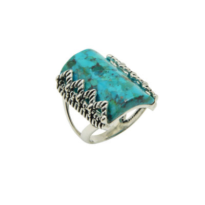 Silver Elements by Barse Womens Genuine Blue Turquoise Sterling Silver Cocktail Ring