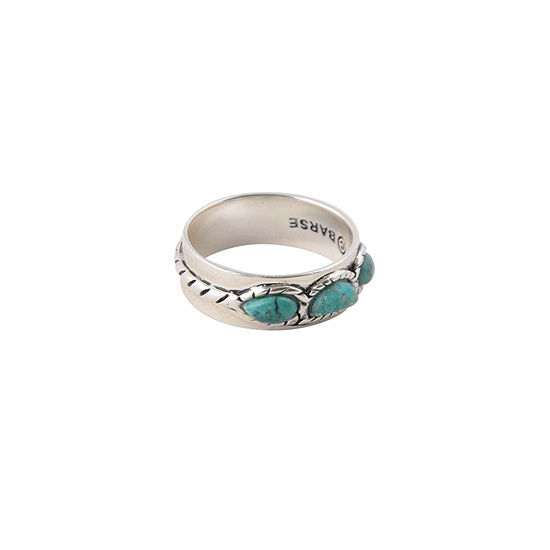Silver Elements by Barse Womens 7MM Genuine Blue Turquoise Sterling Silver Band