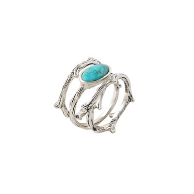 Silver Elements by Barse Womens Genuine Blue Turquoise Stackable Ring