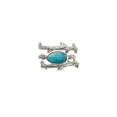Silver Elements By Barse Womens Genuine Blue Turquoise Sterling Silver Stackable Ring