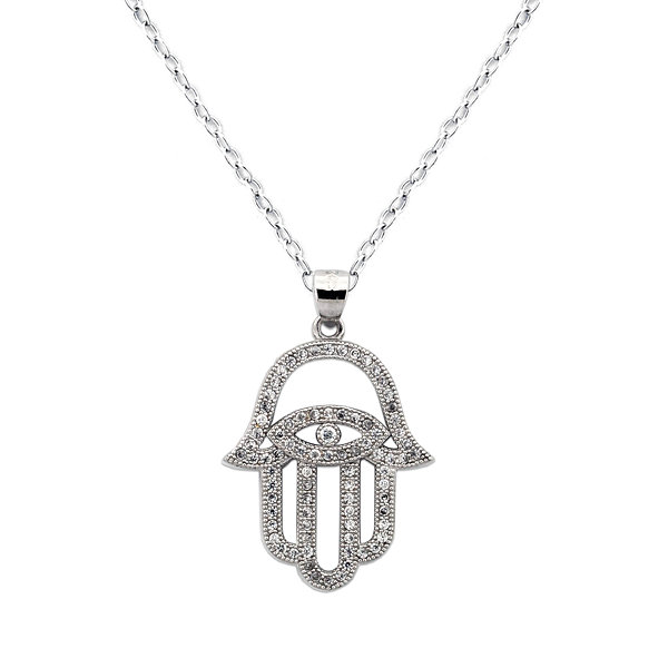 Diamonart Womens 3/4 CT. T.W. White Cubic Zirconia Sterling Silver Pendant Necklace