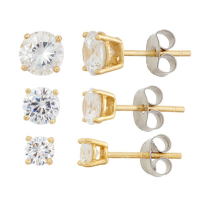 Diamonart 3 Pair 5 1/4 CT. T.W. White Cubic Zirconia 18K Gold Over Silver Earring Sets