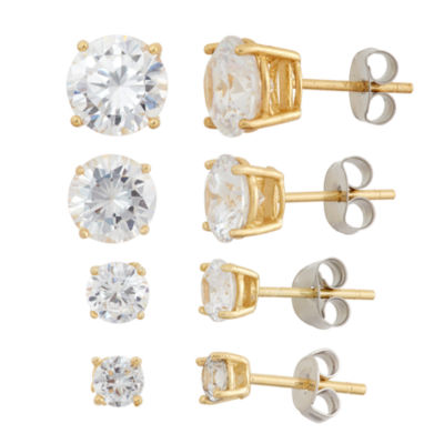 Diamonart 4 Pair Greater Than 6 CT. T.W. White Cubic Zirconia 18K Gold Over Silver Earring Sets
