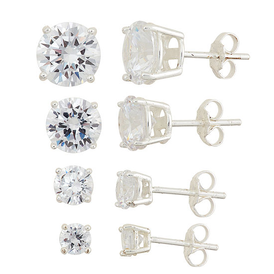 Diamonart 4 Pair White Cubic Zirconia Sterling Silver Earring Set