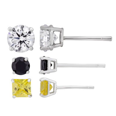 Diamonart 3 Pair 4 3/4 CT. T.W. White Cubic Zirconia Sterling Silver Earring Sets