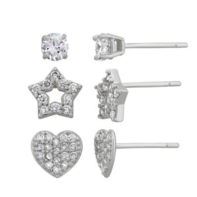 Diamonart 3 Pair 2 CT. T.W. White Cubic Zirconia Sterling Silver Earring Set