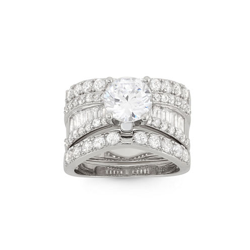 Womens 4 CT. T.W. White Cubic Zirconia Sterling Silver Bridal Set