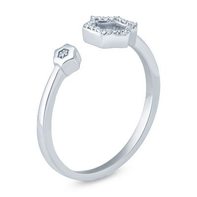 Womens Diamond Accent Genuine White Diamond Sterling Silver Band