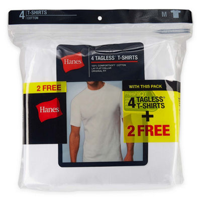 Hanes® Men's ComfortBlend® Cotton 4-pk.+ 2 Bonus Pack Short Sleeve Crew