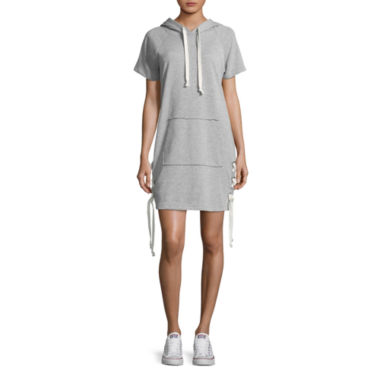 Almost Famous Short Sleeve Sweater Dress-Juniors