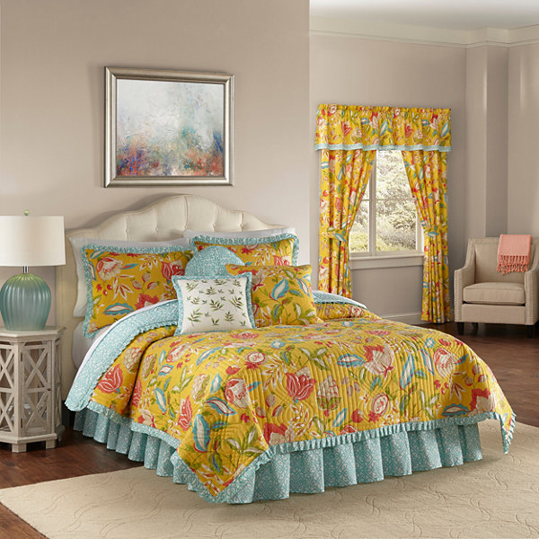 Waverly Modern Poetic Floral Quilt Set