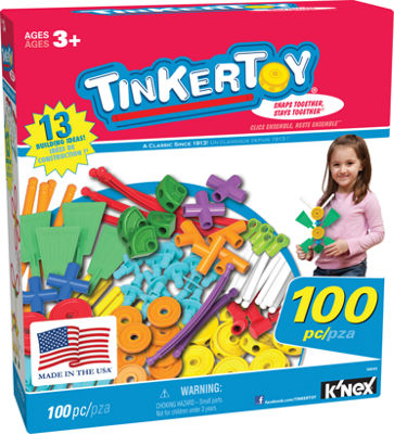TINKERTOY ‒ 100 Piece Essentials Value Set ‒  Ages 3+ - Preschool Education Toy