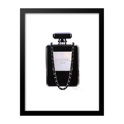Fairchild Paris Black Chanel No. 5 Bottle with Purse Chain Framed Wall Art