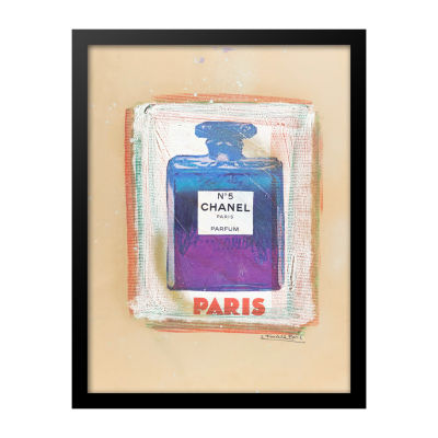 Fairchild Paris Blue & Purple Chanel No. 5 with Sketched Background Framed Wall Art