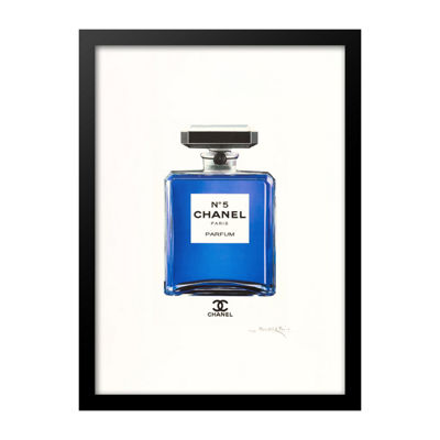 Fairchild Paris Blue Chanel No. 5 Blue Bottle Framed Wall Art