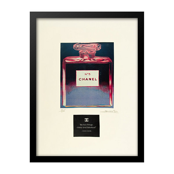 Fairchild Paris Pink & Blue Chanel No. 5 Coco Chanel Quote Framed Wall Art