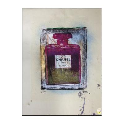 Fairchild Paris Purple & Green Chanel No. 5 Purpleand Green Bottle Framed Wall Art