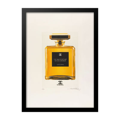 Fairchild Paris featuring Gold Chanel No. 5 Bottlewith quote Framed Wall Art
