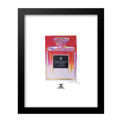 Fairchild Paris Red & Pink Chanel No. 5 Coco Chanel Simplicity Quote Framed Wall Art