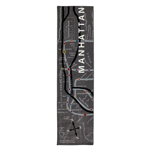 Mohawk Home Aurora Manhattan Map Rectangular Runner