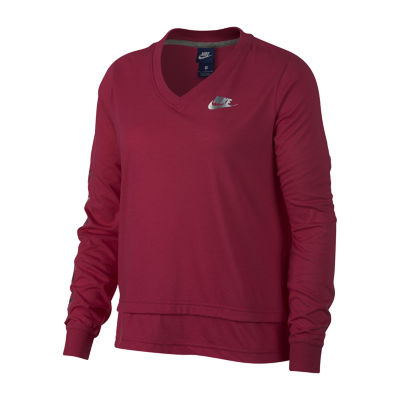 Nike Long Sleeve V Neck Graphic T-Shirt