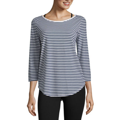Xersion 3/4 Sleeve Crew Neck T-Shirt-Womens