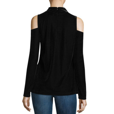 a.n.a Cold Shoulder Velvet Blouse