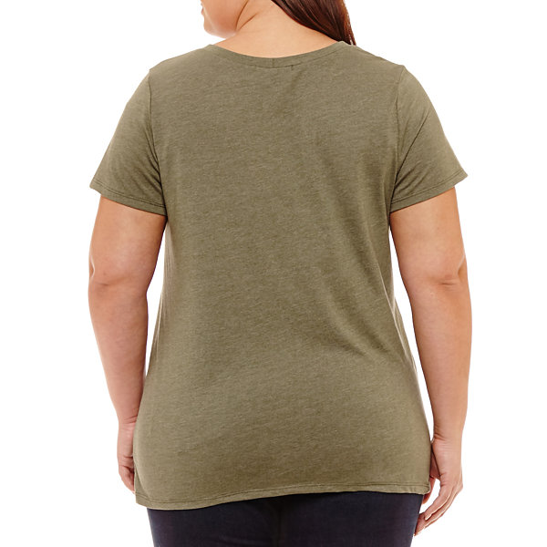 Cut And Paste Short Sleeve V Neck T-Shirt - Womens Plus