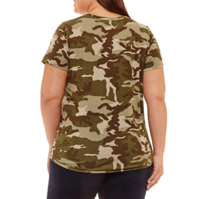 Cut And Paste Short Sleeve Scoop Neck Camouflage T-Shirt - Womens Plus
