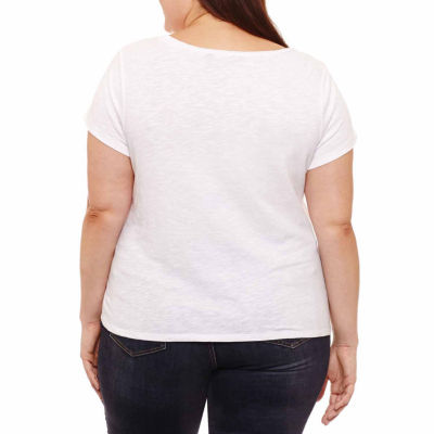 Project Runway Short Sleeve Y Neck T-Shirt-Womens Plus
