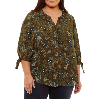 a.n.a 3/4 Sleeve Y Neck Woven Blouse-Plus