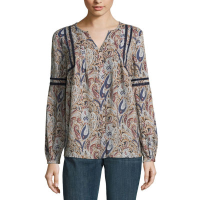 St. John's Bay Long Sleeve Y Neck Woven Blouse