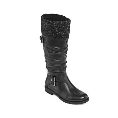 Yuu Womens Carella Wide Calf Riding Boots Zip Wide