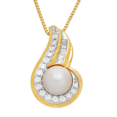 Womens Genuine White Cultured Freshwater Pearl Pendant Necklace
