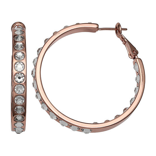 Crystal Sophistication 18K Rose Gold Over Brass Round Hoop Earrings