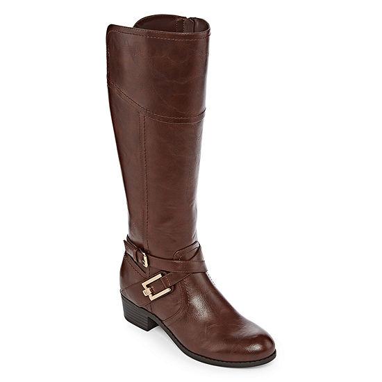 Liz Claiborne Womens Trevi Riding Boots Block Heel Wide Width