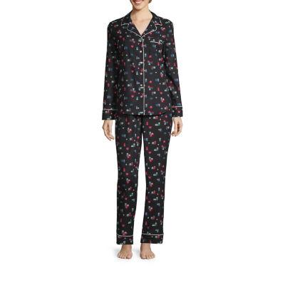 Liz Claiborne Notch Collar Flannel Pant Pajama Set-Tall