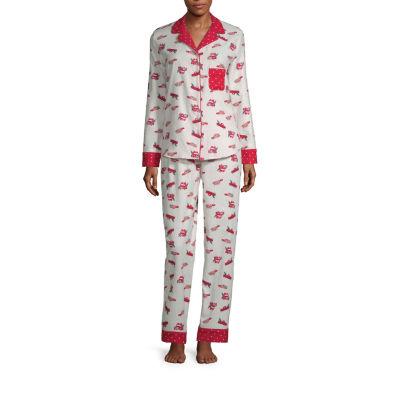 Liz Claiborne Notch Collar Flannel Pajama Set- Talls