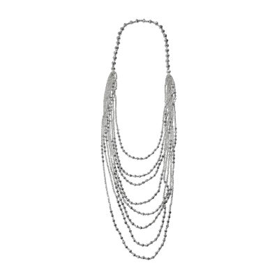 Mixit Silver Faceted Bead Womens Strand Necklace