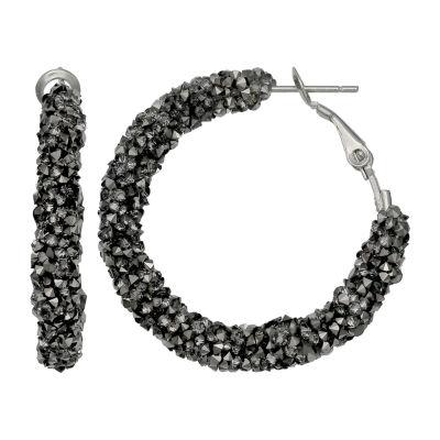 Mixit Grey Fx Drzy 1 1/4 Inch Hoop Earrings