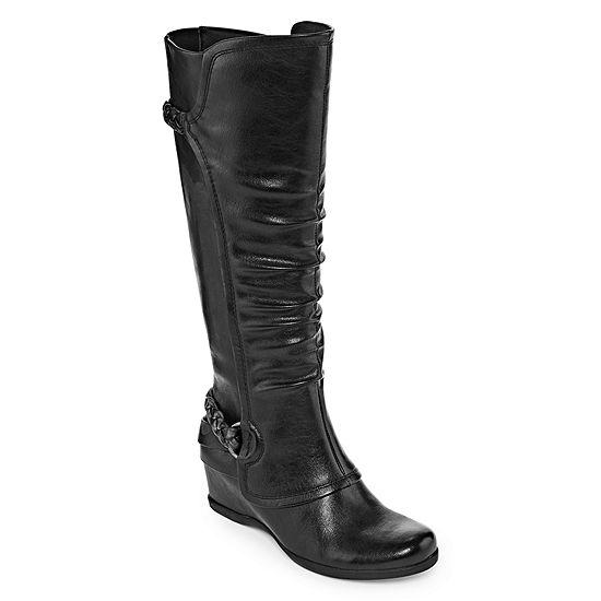 Yuu Womens Quinlan Riding Boots Wedge Heel
