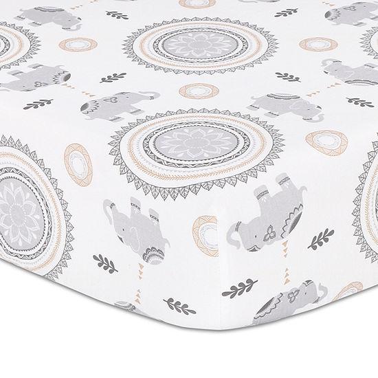 The Peanut Shell Boho Fitted Sheet Elephant And Medallion Print By The Peanutshell Crib Sheet
