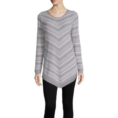 Alyx Womens Scoop Neck Long Sleeve Stripe Pullover Sweater