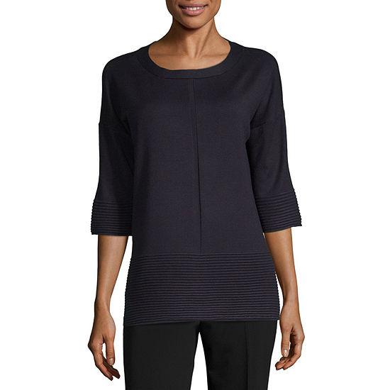 Liz Claiborne 3 4 Sleeve Round Neck Pullover Sweater