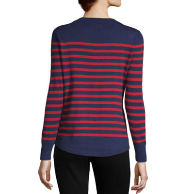 Liz Claiborne Simply Womens Crew Neck Long Sleeve Striped Pullover Sweater