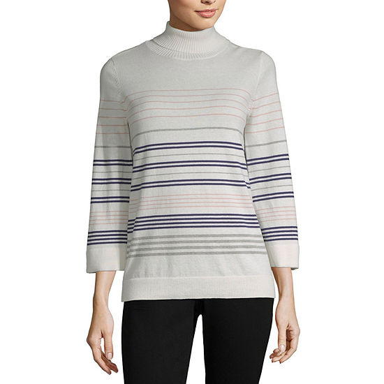 Liz Claiborne Long Sleeve Turtleneck Stripe Pullover Sweater Jcpenney